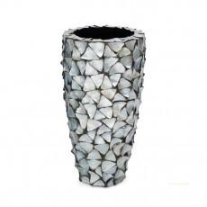 schelpenpot hoog zilverblauw pot&vaas